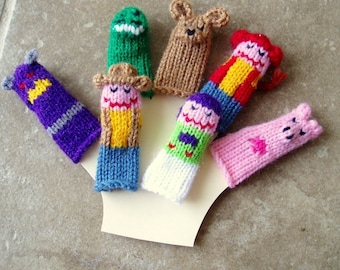 Toy Friends Finger Puppet Set (Includes Cowboy, Spaceman, Evil Spacelord, Dinosaur, Dog, Cowgirl, and Pig.)  We can create custom orders.