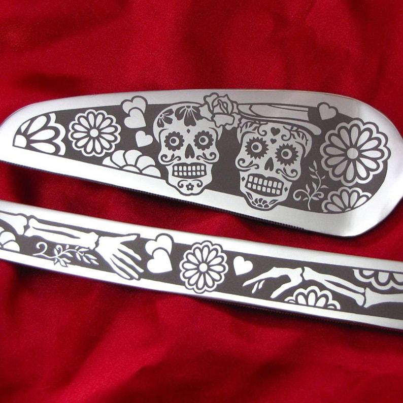 Jour du gâteau de mariage mort serveur et couteau, mariage Table paramètres, Sugar Skull, Calavera