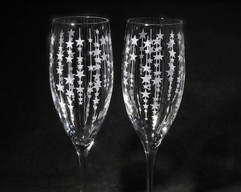 NEW 2 Falling Stars Wedding Champagne Flutes, Personalized Champagne Glasses, Bride to Be Gift for Couple, Formal Wedding
