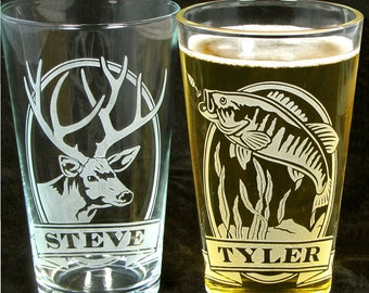 2 Fishing Gifts For Men Personalized Etched Glass Beer Pint Glasses Birthday Presents Guys Dad Husband
