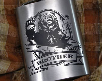 NEW Personalized Grizzly Bear Flask Birthday Present Flask Gift Idea for Man, Stainless Steel Hip Flask for Him