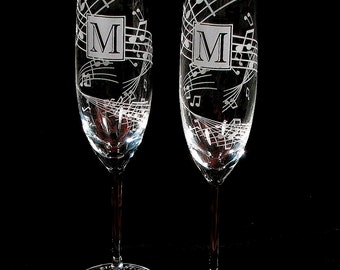 2 Music Themed Wedding Champagne Flutes, Fine Crystal Champagne Glasses Wedding Present