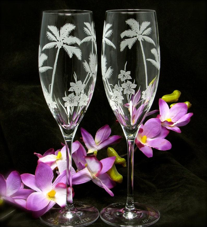 2 Personalized Wedding Toasting Flutes Tropical Beach Wedding image 0