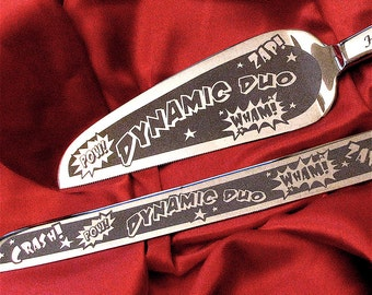 Comic Book Art Style Wedding Cake Server, Knife for Offbeat Wedding
