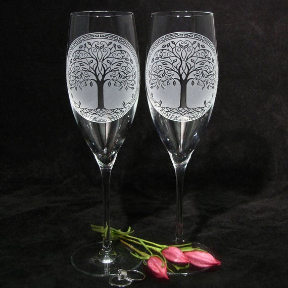 2 Celtic Tree Of Life Wedding Decor Irish Wedding Champagne Etsy