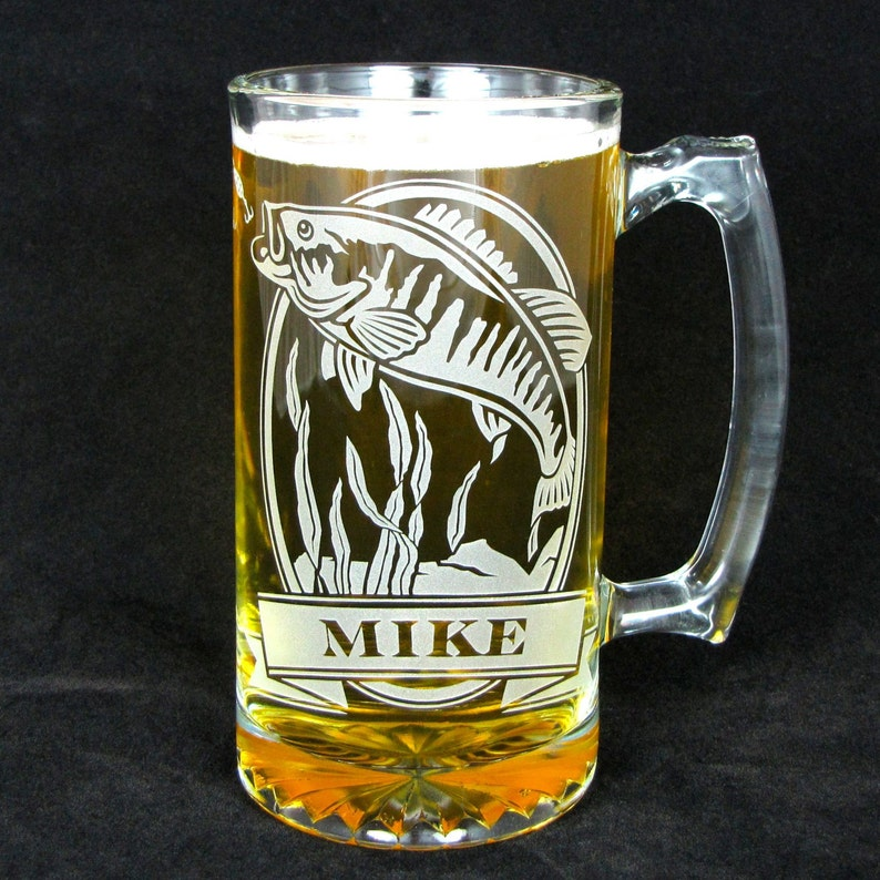 Personalized Engraved Gift for Fishermen Etched Glass Bass