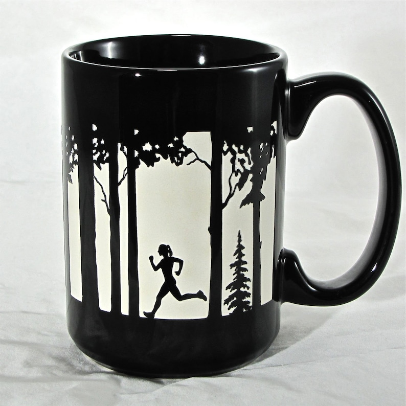 Female Runner Coffee Cup Engraved Gift For Trail