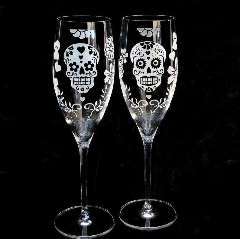 Two 2 Day of the Dead Wedding Toasting Flutes Sugar Skull image 0