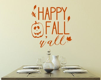 Happy Fall Y'All vinyl decal, autumn wall decor, holiday window decal, Halloween Thanksgiving decor, pumpkin decal