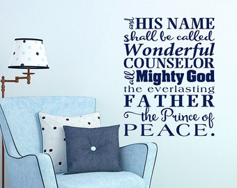 His Name subway art vinyl decal, Wonderful Counselor, prince of peace. Jesus wall decal, religious decal. Scripture Christmas wall words