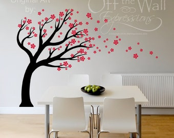 Tree wall decal, Nursery Tree Decal, Blowing Tree with blossoms for Childrens room. Porch, Dining Room, or Office.