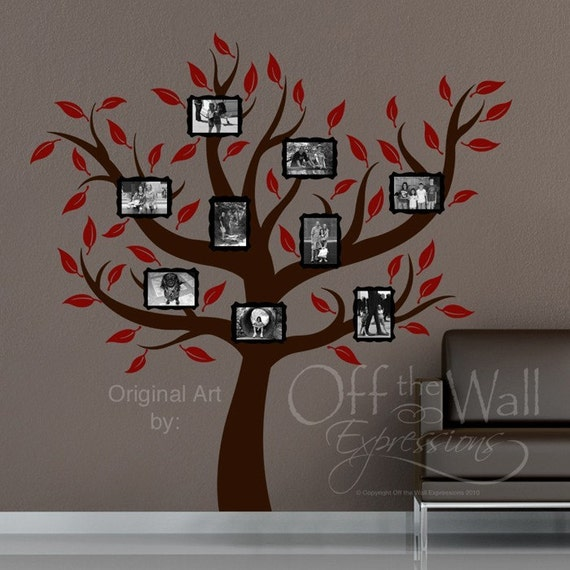 Family Tree Wall Art Decal Photo Frames Vinyl Decal Etsy