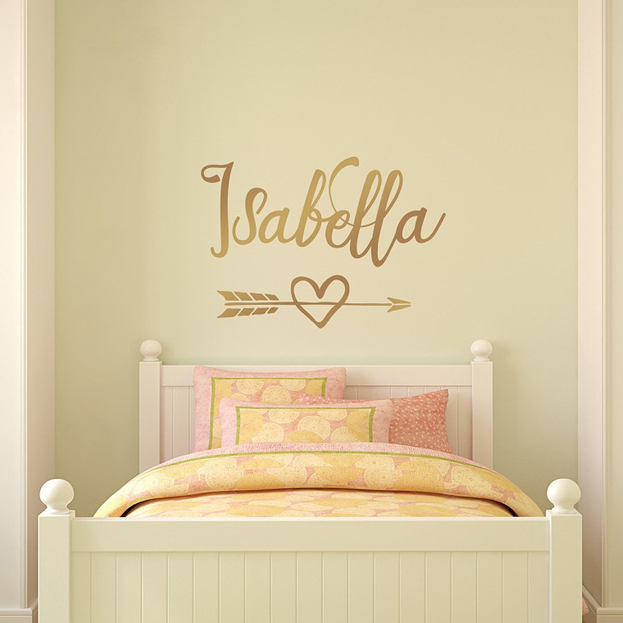 Gold Wall Decal Personalized girl name decal arrow heart | Etsy