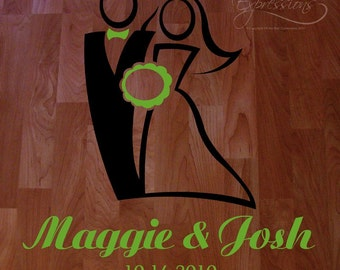 Wedding Dance Floor Decal,  Bride and Groom Wedding decal, reception decoration, removeable decal