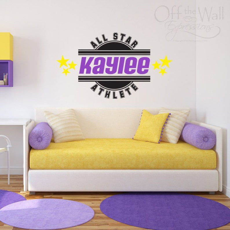 team wall art All Star Girl Athlete Personalized Decal vinyl decal sports sticker wall monogram