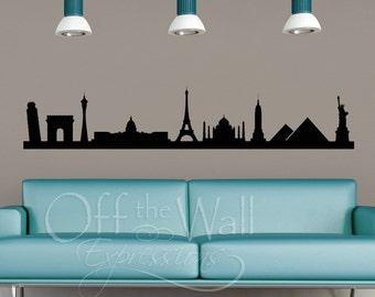 Landmark Skyline vinyl wall art - historical travel sticker - skyline decal - city skyline - world monuments - wall decor - wall art decal