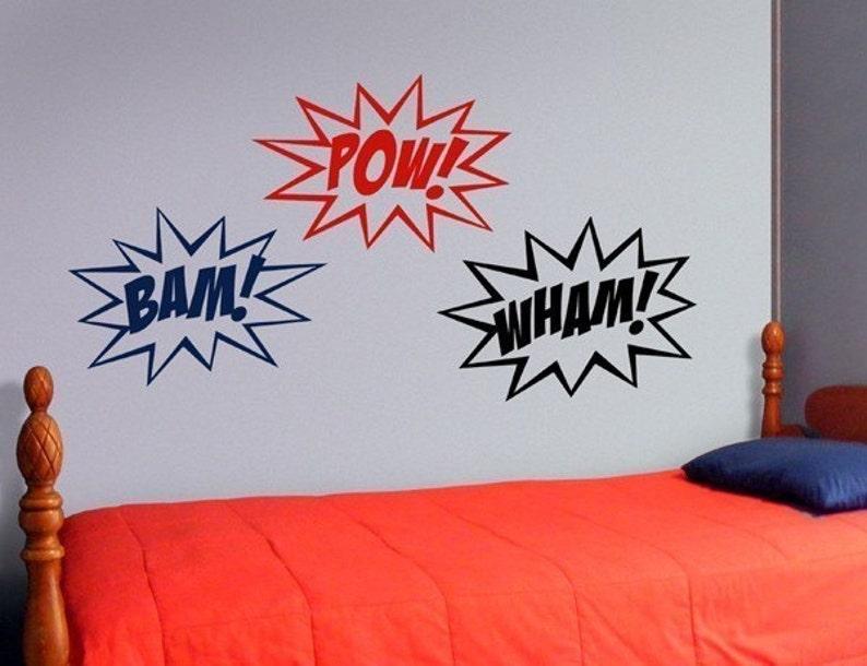 Superhero wall decal superhero sounds comic book vinyl image 0