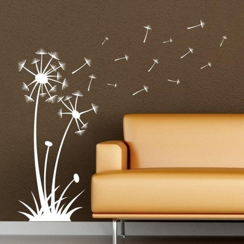 dandelions blowing in the wind vinyl wall art   etsy