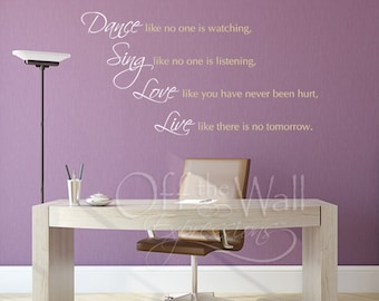 Dance like no one is watching, two color design vinyl wall words decal