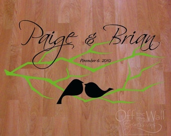 Love Birds on a Branch, Dance Floor Decal, wedding decal personalized vinyl wedding decor, removeable decal
