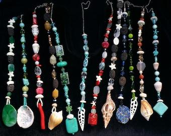 Beaded Fan Pull, Ceiling Fan Pull, Light Fixtures, Seashell gift, Beach Glass, Chain Pull, Home Decor, Mermaid gift, Housewarming Gift