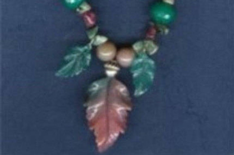 Fancy Jasper Carved Leaf Necklace image 0