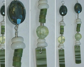 Ricolite and Crystal Dangle Earrings