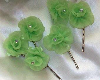Bridal Sale,Chartreuse-Lime Organza Hair Flower Set of Six,Wedding,Bridal Accessories,Bridal Hair Flower,Green Wedding,Flower Hair Pin
