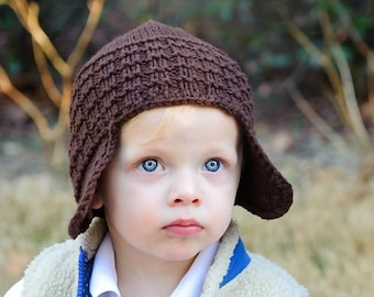 """Brown Toasty Waffle Hat Original Sample Size Toddler (16"""" Finished Circumference)"""