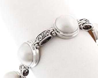 White ocean mabe pearl chain sterling Silver bracelet  Silver 925  Bali handmade jewelry #124B