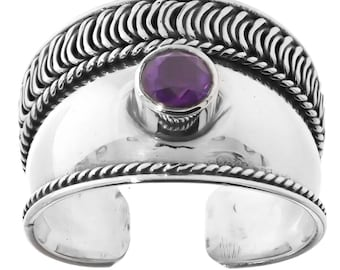 Handmade Sterling Silver .925 Bali Triangle Solitaire Large Amethyst Dome Ring.