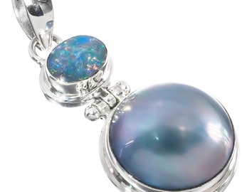 14 Stunning Blue Mabe Pearl Strand 925 Sterling Silver Necklace