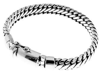 renegutierrez63 on etsy Walking Liberty Half Dollar 8mm wide snake chain bali handmade 925 sterling silver bracelet 7 9