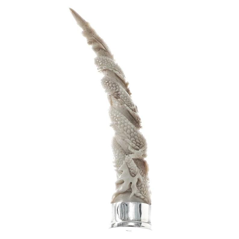3 34 Handcarved Dragon Deer Antler 925 Sterling Silver Pipe Tobacco Tamper