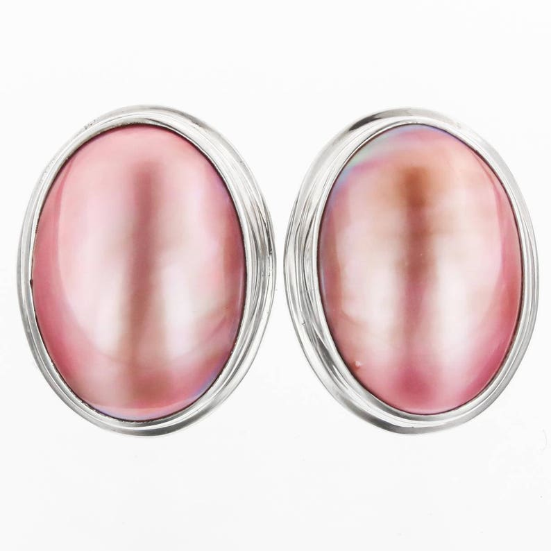 1316 Pink Mabe Pearl 925 Sterling Silver Post Earrings