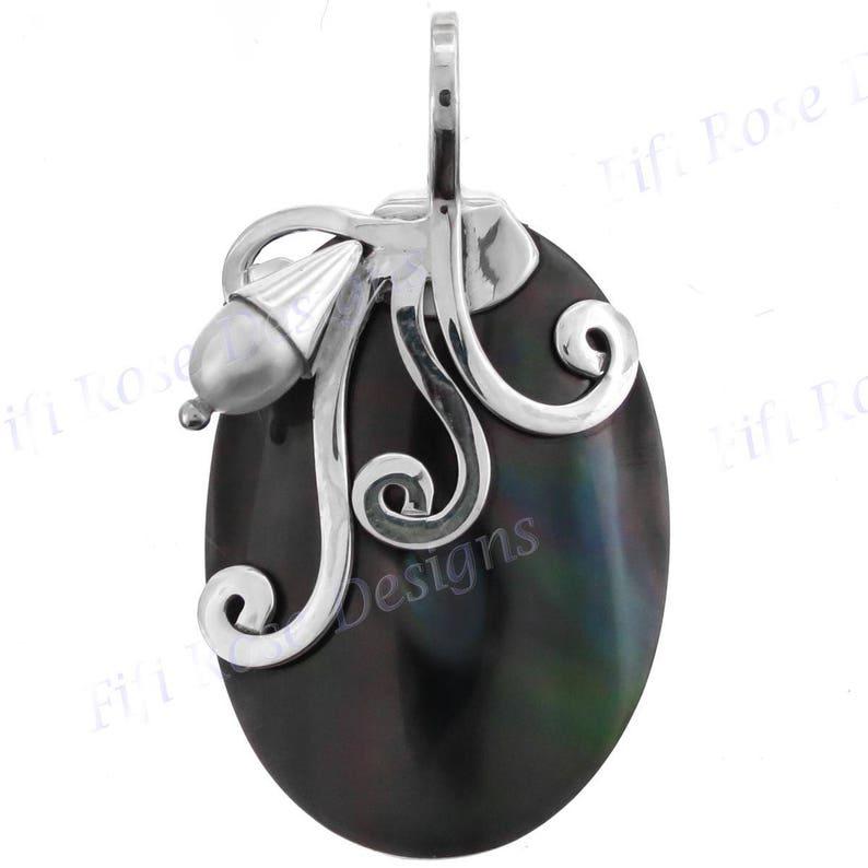 1 716 Black Iridescent Pen Shell 925 Sterling Silver Pendant