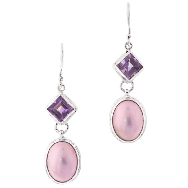 1 916 Oval Pink Mabe Pearl Amethyst 925 Sterling Silver Drop Earrings