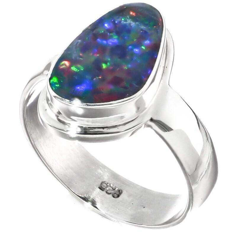 Big Blue Natural Australian Opal 925 Sterling Silver Sz 6 Ring