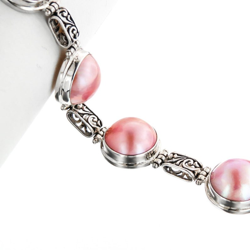 7-8 5 Filigree Link Pink Mabe Ocean Cultured Pearl 925 Sterling Silver Bracelet