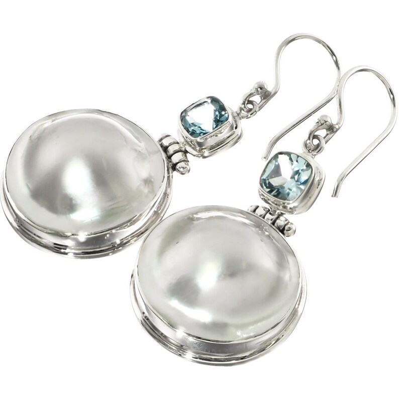 1 14 White Oyster Mabe Pearl Blue Topaz 925 Sterling Silver Earrings