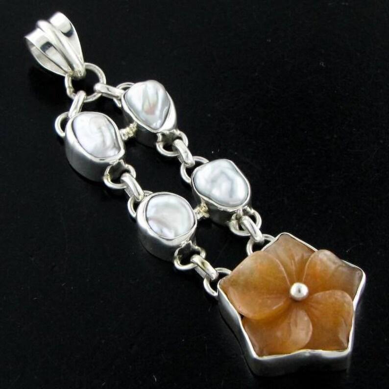 2 34 Carnelian Biwa Pearl 925 Sterling Silver Pendant