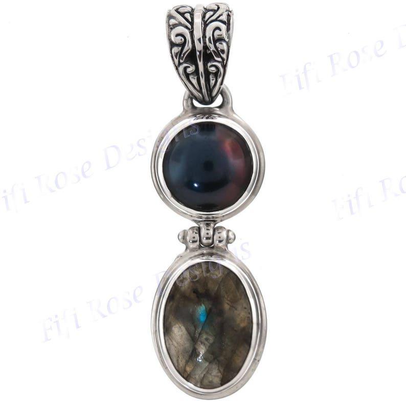 1 34 Labradorite Peacock Freshwater Pearl 925 Sterling Silver Pendant