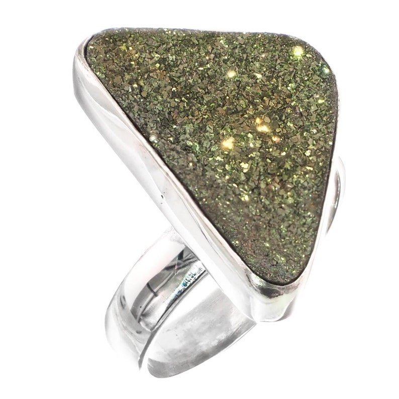 1 Russian Pyrite Druzy Drusy 925 Sterling Silver Adjustable Sz 8 Ring