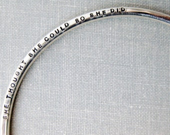 Personalized Stamped Bangle with Round Wire