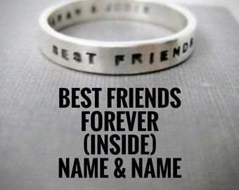 Quote Idea - Personalized Ring, Best Friends Ring, BFF, Ring Idea, Best Friends Forever, Stamped Ring, Solid Sterling
