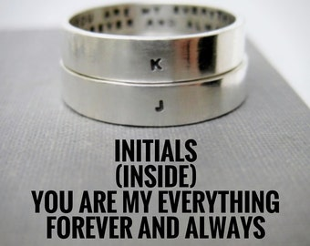 Set of 2 4mm Wide Rings - Quote Idea, Personalized Rings, Love Rings, Promise Rings, Wedding Ring, Anniversary Ring, Stamped, Solid Sterling