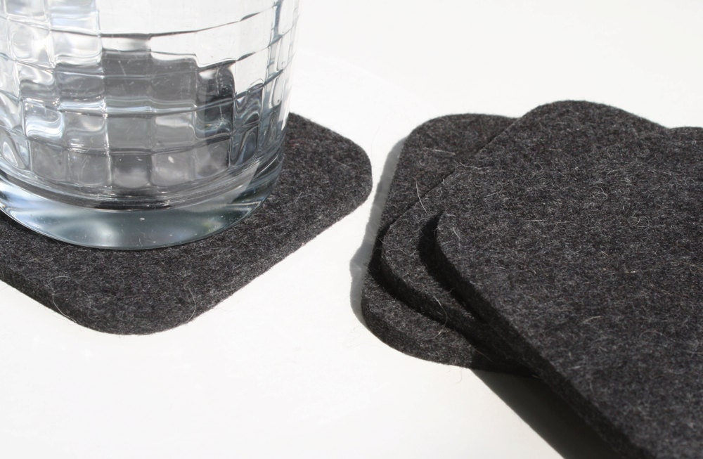 Square Coasters Wool Felt 5mm Thick Gray Grey Fabric Drink