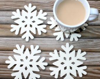 Snowflake Coasters, Christmas Winter Table Decor