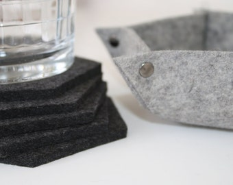 Wool Felt Coasters with Holder Coaster Set, Gift for Couple Geometric Hexagon 5mm Thick Merino Wool Felt with 3mm Thick Felt Bowl