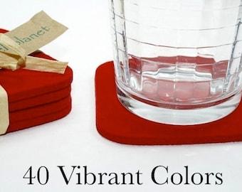 "Merino Wool Felt Drink Coasters, Absorbent Custom Coaster Set, 5mm Thick 4"" Square"
